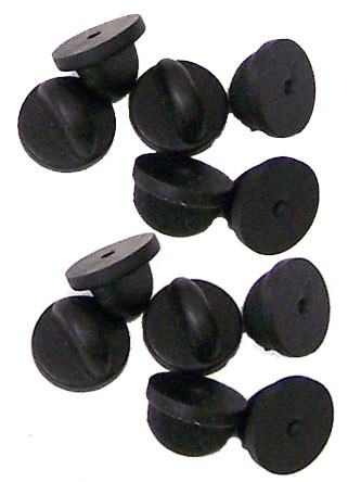 Black PVC Rubber Pin Backs - Set of 12