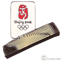 Beijing 2008 Olympics Ghu Zheng Table Harp Pin