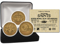 Super Bowl XLIV (44) New Orleans Saints Champions Bronze 3 Coin Set