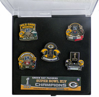 Super Bowl XLV (45) Green Bay Packers  Champs Pin Set - Limited 5,000 / with Easel Stand