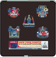 Super Bowl XLVI (46)  New York Giants Champs Five Pin Set - Ltd 5,000 (w/ Easel Display)