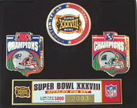 Super Bowl XXXVIII (38) Patriots vs Panthers Pin Set - Limited 5,000