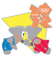 London 2012 Olympics Wenlock Wrestling Pin