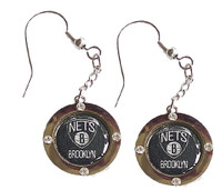 Brooklyn Nets Crystal Dangler Earrings
