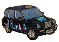 London 2012 Olympics Black Taxi Skyline Pin - Oversized