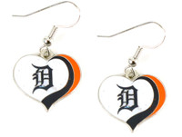 Detroit Tigers Swirl Heart Earrings