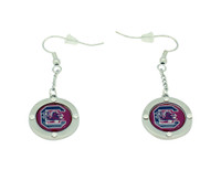 South Carolina Team Circle Crystal Dangle Earrings
