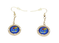 Kansas Team Circle Crystal Earrings