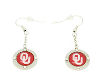 Oklahoma Team Circle Crystal Earrings