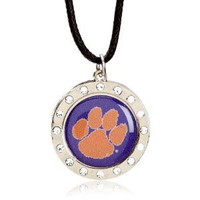 Clemson Crystal Circle Necklace