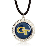 Georgia Tech Crystal Circle Necklace