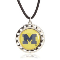 Michigan Crystal Circle Necklace