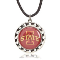 Iowa State Crystal Circle Necklace