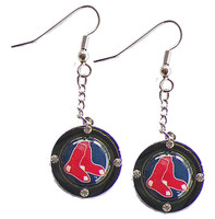 Boston Red Sox Round Crystal Dangler Earrings