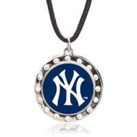 New York Yankees Crystal Circle Necklace