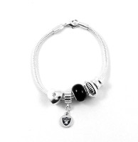 Oakland Raiders Football Black Bead Bracelet
