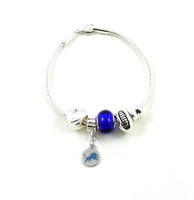 Detroit Lions Football Blue Bead Bracelet