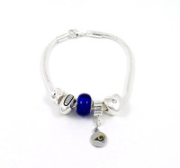 St. Louis Rams Football Blue Bead Bracelet