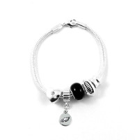 Philadelphia Eagles Football Black Bead Bracelet