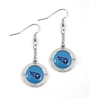 Tennessee Titans Round Crystal Dangler Earrings