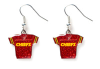 Kansas City Chiefs Jersey Glitter Dangler Earrings