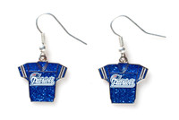New England Patriots Jersey Glitter Dangler Earrings