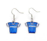 Dallas Cowboys Jersey Glitter Dangler Earrings