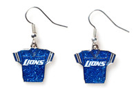 Detroit Lions Jersey Glitter Dangler Earrings