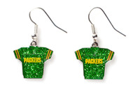 Green Bay Packers Jersey Glitter Dangler Earrings