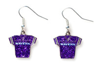Baltimore Ravens Jersey Glitter Dangler Earrings