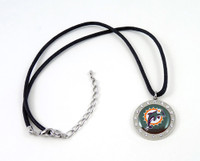 Miami Dolphins Crystal Circle Necklace