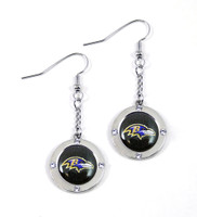 Baltimore Ravens Round Crystal Dangler Earrings