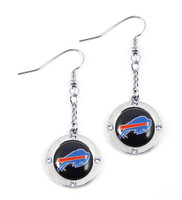 Buffalo Bills Round Crystal Dangler Earrings
