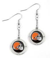 Cleveland Browns Round Crystal Dangler Earrings