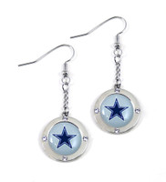 Dallas Cowboys Round Crystal Dangler Earrings