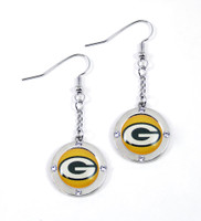 Green Bay Packers Round Crystal Dangler Earrings