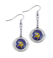 Minnesota Vikings Round Crystal Dangler Earrings