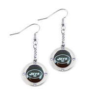 New York Jets Round Crystal Dangler Earrings