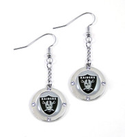 Oakland Raiders Round Crystal Dangler Earrings