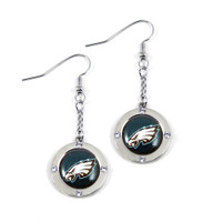Philadelphia Eagles Round Crystal Dangler Earrings