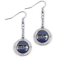 Seattle Seahawks Round Crystal Dangler Earrings