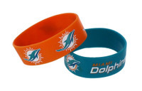Miami Dolphins Wide Wristbands (2 Pack)