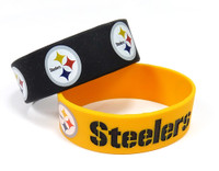 Pittsburgh Steelers Wide Wristbands (2 Pack)