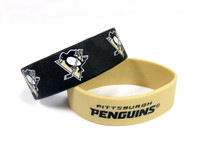 Pittsburgh Penguins Wide Wristbands (2 Pack)
