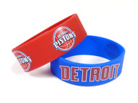 Detroit Pistons Wide Wristbands (2 Pack)