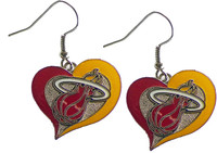 Miami Heat Heart Earrings