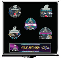 Baltimore Ravens Super Bowl XLVII Champs 5 Pin Collector Set - Ltd 5,000