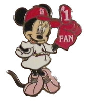 St. Louis Cardinals Minnie Mouse #1 Fan Disney Pin
