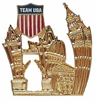 Team USA Crest Londonscape Pin - Gold