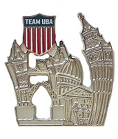 Team USA Crest Londonscape Pin - Silver